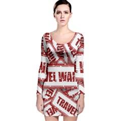 Travel Warning Shield Stamp Long Sleeve Velvet Bodycon Dress