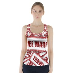Travel Warning Shield Stamp Racer Back Sports Top