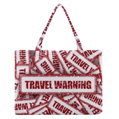 Travel Warning Shield Stamp Zipper Medium Tote Bag