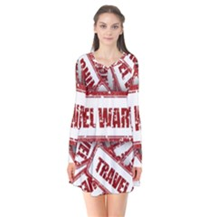 Travel Warning Shield Stamp Flare Dress