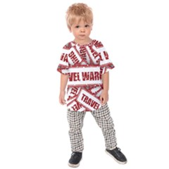 Travel Warning Shield Stamp Kids Raglan Tee