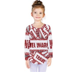 Travel Warning Shield Stamp Kids  Long Sleeve Tee