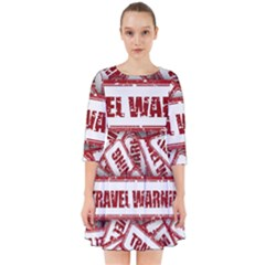 Travel Warning Shield Stamp Smock Dress