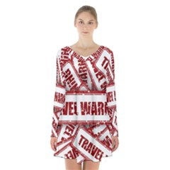 Travel Warning Shield Stamp Long Sleeve Velvet V Neck Dress
