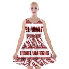 Travel Warning Shield Stamp Velvet Skater Dress