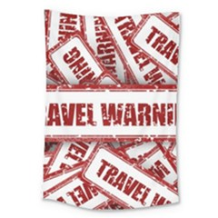 Travel Warning Shield Stamp Large Tapestry