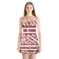 Travel Warning Shield Stamp Satin Pajamas Set