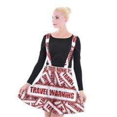 Travel Warning Shield Stamp Suspender Skater Skirt