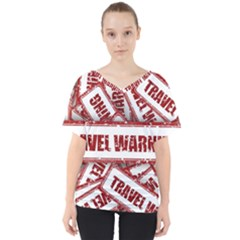Travel Warning Shield Stamp V Neck Dolman Drape Top