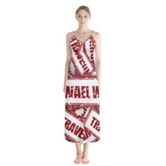 Travel Warning Shield Stamp Button Up Chiffon Maxi Dress