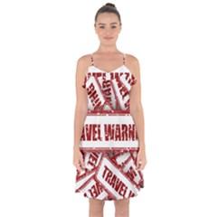 Travel Warning Shield Stamp Ruffle Detail Chiffon Dress