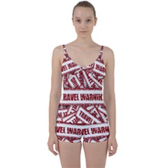 Travel Warning Shield Stamp Tie Front Two Piece Tankini