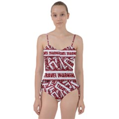 Travel Warning Shield Stamp Sweetheart Tankini Set
