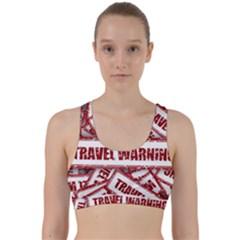 Travel Warning Shield Stamp Back Weave Sports Bra