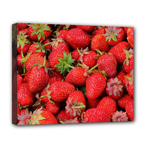 Strawberries Berries Fruit Deluxe Canvas 20  X 16