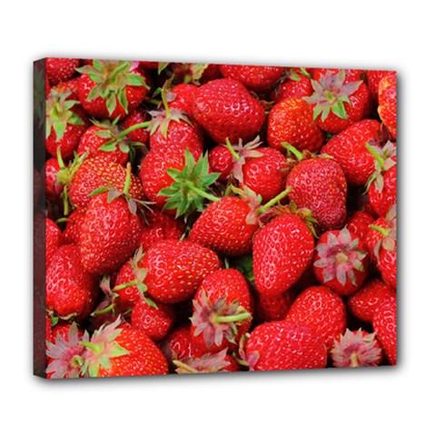 Strawberries Berries Fruit Deluxe Canvas 24  X 20