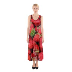 Strawberries Berries Fruit Sleeveless Maxi Dress