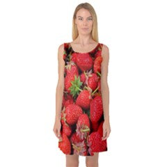 Strawberries Berries Fruit Sleeveless Satin Nightdress