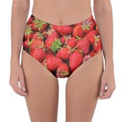 Strawberries Berries Fruit Reversible High Waist Bikini Bottoms