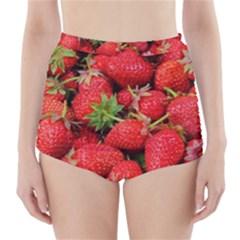 Strawberries Berries Fruit High Waisted Bikini Bottoms