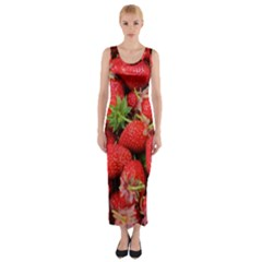 Strawberries Berries Fruit Fitted Maxi Dress
