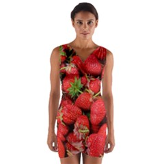 Strawberries Berries Fruit Wrap Front Bodycon Dress