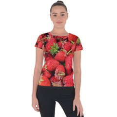 Strawberries Berries Fruit Short Sleeve Sports Top