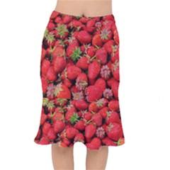 Strawberries Berries Fruit Mermaid Skirt