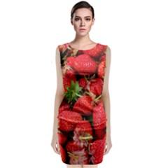 Strawberries Berries Fruit Sleeveless Velvet Midi Dress