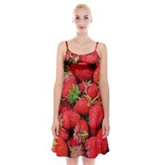 Strawberries Berries Fruit Spaghetti Strap Velvet Dress