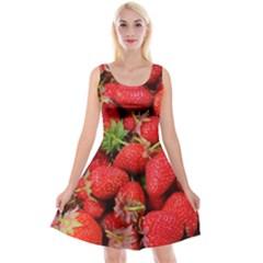 Strawberries Berries Fruit Reversible Velvet Sleeveless Dress