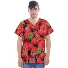 Strawberries Berries Fruit Men s V Neck Scrub Top