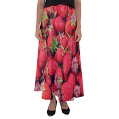 Strawberries Berries Fruit Flared Maxi Skirt