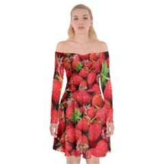 Strawberries Berries Fruit Off Shoulder Skater Dress
