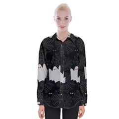 Spider Web And Ghosts Pattern Womens Long Sleeve Shirt