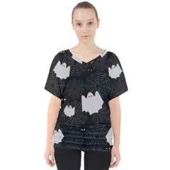 Spider Web And Ghosts Pattern V Neck Dolman Drape Top