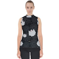 Spider Web And Ghosts Pattern Shell Top