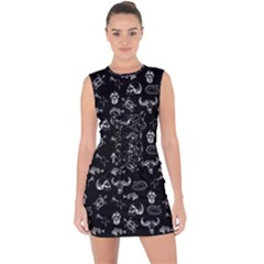 Skeleton Pattern Lace Up Front Bodycon Dress