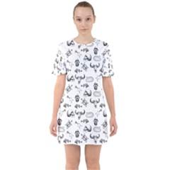 Skeleton Pattern Sixties Short Sleeve Mini Dress