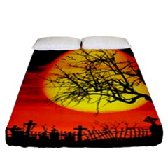 Halloween Landscape Fitted Sheet (california King Size)