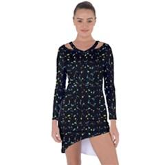 Splatter Abstract Dark Pattern Asymmetric Cut Out Shift Dress