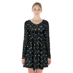 Splatter Abstract Dark Pattern Long Sleeve Velvet V Neck Dress