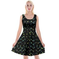 Splatter Abstract Dark Pattern Reversible Velvet Sleeveless Dress
