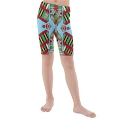 Digital Dot One Kids  Mid Length Swim Shorts