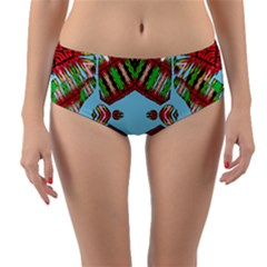Digital Dot One Reversible Mid Waist Bikini Bottoms