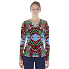 Digital Dot One V Neck Long Sleeve Top
