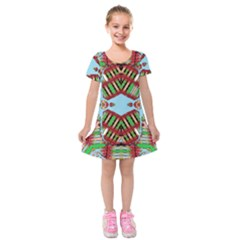 Digital Dot One Kids  Short Sleeve Velvet Dress