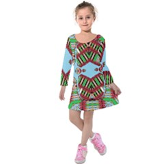 Digital Dot One Kids  Long Sleeve Velvet Dress