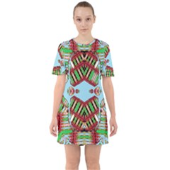 Digital Dot One Sixties Short Sleeve Mini Dress