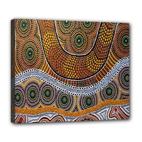 Aboriginal Traditional Pattern Deluxe Canvas 24  X 20